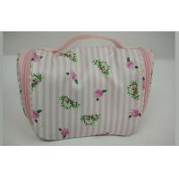 Buy cheap Peony Stripe Pink and White Background Color Ladies Cosmetic Bags for Women Travel from wholesalers