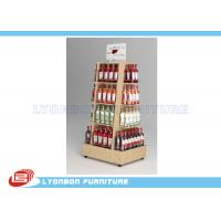 Quality Mobile Wine Wooden Display Stands MDF Melamine Display Stand With Casters for sale