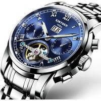 Wholesale Wholesale Men Full automatic mechanical  stainless steel blue flywheel watch With Month Week Date display JYD-J014 from china suppliers