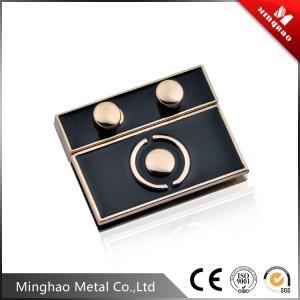 Wholesale Metal zinc alloy lock for handbag,drip glue black retangular metal bag lock from china suppliers