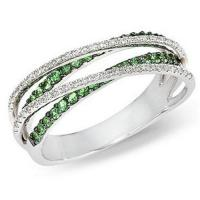 Wholesale Tsavorite and Diamond 14K White Gold Criss Cross Ring from china suppliers