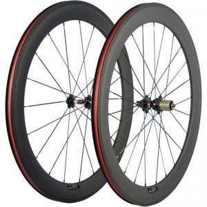 Basalt Braking Surface 60mm Carbon Fiber Bike Wheels Rims For Race Bike Black Red
