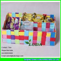 Wholesale LDKZ-005 mixed summer color woven drawer ,pp yarn strap woven storage box  organizer from china suppliers