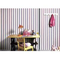 Wholesale Contemporary Blue And Red Striped Bedroom Wallpaper / Non Woven Wallcovering from china suppliers