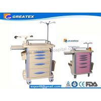 Wholesale Hospital Emergency Trolley For Medical With SS304 Guard Rail Pink Grey Orange from china suppliers