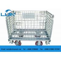 Wholesale Zinc Finish Wire Mesh Cages With Foot Brakes / Castors Rigid Rolling Metal from china suppliers