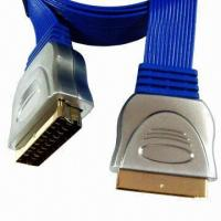 Wholesale Full metal shell type scart cable in flat, 24k gold-plated connectors from china suppliers