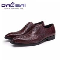 Wholesale genuine leather men shoes in brown crocodile pattern custom made from china suppliers