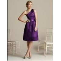 Wholesale China Bridesmaid Dress / Mid-Calf One Shoulder Purple Bridesmaid Dress with Satin from china suppliers