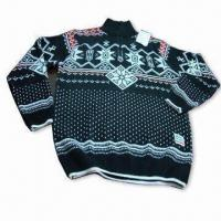 Wholesale Men's Outdoor Sweaters with Computer Jacquard, Available in Various Sizes from china suppliers