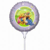 Wholesale Round-shaped Stick Foil Balloon, Perfect Toy for Kids and Adults, OEM Orders Accepted from china suppliers
