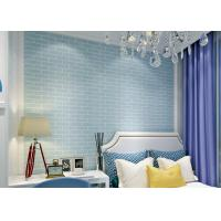 Wholesale Blue Self Adhesive 3D Brick Effect Wallpaper Non Woven Materials , Pre - Pasted from china suppliers