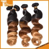 Wholesale Top quality 1b/4/27 full cuticle brazilain virgin loose wave 6A 3 tone color ombre hair from china suppliers