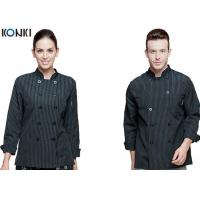 Wholesale Personalized Chef Cook Uniform , White / Black Chef Coats With Double Breasted Stripe from china suppliers