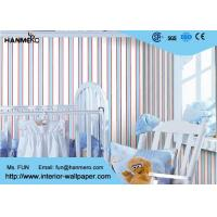 Wholesale Removable Modern Removable Wallpaper / Vertical Striped Wallpaper Dark Blue And Red Color from china suppliers