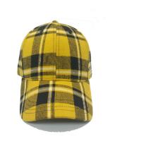 Wholesale Plaid 6 Panel Checkered Baseball Cap , Fashion Sports Fitted Hats 58cm Size from china suppliers