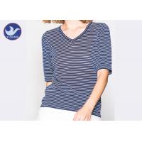 Wholesale Shinny Micro Lurex Womens Knit Pullover Sweater V Neck Small Stripes Slim from china suppliers