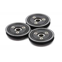 Flanged Ceramic Cable Pulley Wheels Black Color With Bearing , Plastic Body