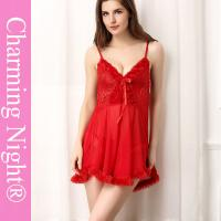 Wholesale Lace Transparent  Mature Women Young Girls Sexy Lingerie Babydoll Short Dress from china suppliers