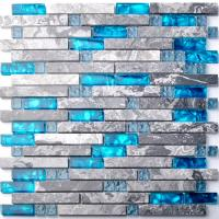 Wholesale Sea Blue Grey Marble Glass Kitchen Backsplash Mosaic Tiles For Bathroom Bathtub from china suppliers