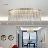 Buy cheap Post modern Luxurious pendant lamp Creative Fringed Aluminum Chrome Chain Led hanging Light Living Room Restaurant Dinin from wholesalers