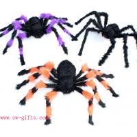 Wholesale Halloween Supplies Props Decoration Black Flower Plush Spider Plastic Spider from china suppliers