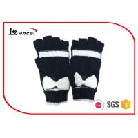 Wholesale Black And Cream Plain Fingerless Knit Winter Gloves Bowknot On The Top from china suppliers