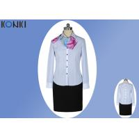 Wholesale Modern Corporate Office Uniforms Ladies / Blue And White Stripe Shirt from china suppliers