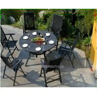 Wholesale Black Garden Table And Chairs Set / Metal Patio Furniture Sets For Hotel from china suppliers