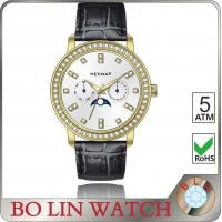 Wholesale Gold Case Brown Leather Band Mens Watch , Sunray Sub - Dial Quartz Leather Watch from china suppliers