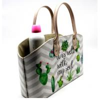 Wholesale Cactus Plant Print Leather Cosmetics Organizer Basket Custom Cardboard Pu Leather Basket with Handle from china suppliers