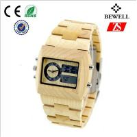Wholesale Bewell Natural Maple Wood Wrist Watch For Male With Double Movements from china suppliers