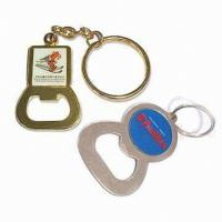 Wholesale Souvenir gifts Metal bottle opener keyrings, Zinc alloy with Gold and nickel finish from china suppliers