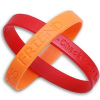 Wholesale Eco-friendly 100% Silicone Red / Yellow  Debossed Custom Silicone Wristband For Younger / Children SIze from china suppliers