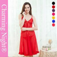Buy cheap Sexy Long Lingerie Mature Women Night Dress With Nice Lace Rhinestone Fur Trim from wholesalers