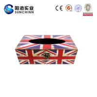 Muticolored Canvas Printing Wooden Box/ Tissue Box/Paper Container for Paper Storage