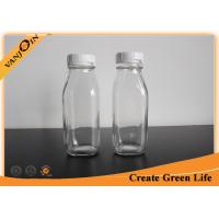 Wholesale Fruit Juice 10oz Clear French Square Glass Bottles With Plastic Tearing Off Ring from china suppliers