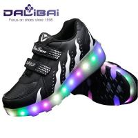 Wholesale Light Up 2 Wheels Skate Roller Shoes LED Casual Shoes For Kids and Adults from china suppliers