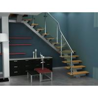 Wholesale Straight Staircases with Stainless Steel Beam and Solid Wood Step from china suppliers