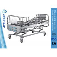 Wholesale Stainless Steel Five - Function Manual Hospital Bed With Four Cranks , Diagonal Brakes from china suppliers