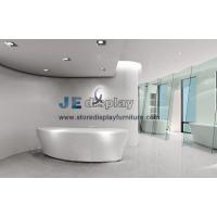 Wholesale Modern Office interior design by Bespoke Pure white Arc Millwork reception counter with Green glass screen from china suppliers