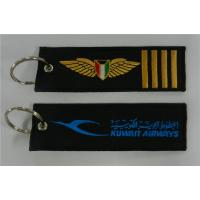 Wholesale Kuwait Airways Logo with 4 Bars Embroidery Fabric Key Chain Aviation Tags from china suppliers