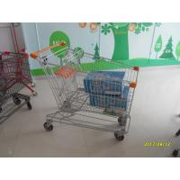 Wholesale Asian Style 180L Supermaket Wire Shopping Trolley Cart With orange plastic parts SGS TUC from china suppliers
