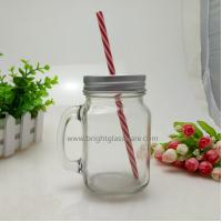 Wholesale 16oz Glass Mason Jar With Handle and Metal Lid in Straws from china suppliers