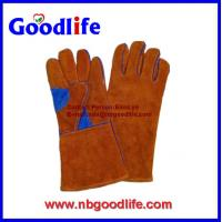"Wholesale full sock lined 14"" leather welding gloves/ EN388 safety gloves from china suppliers"