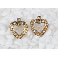 Wholesale Antique Rose Gold Large Stud Heart Shaped Earrings Costume Jewelry With Diamond from china suppliers