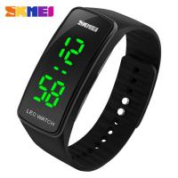 Wholesale Black Silicone Strap LED Wrist Watch Green Light Display SKMEI  for Kids from china suppliers