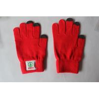 Wholesale Red Embroidered Touch Screen Gloves , Winter Finger Touch Gloves from china suppliers