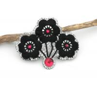 Wholesale Black Flower Embroidery Patches Wintersweet Shaped Customized Color / Size from china suppliers