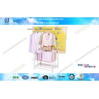 Wholesale Foldable Free Standing Clothes Drying Rack , Double Pole Wheeled Mobile Clothing Rack from china suppliers